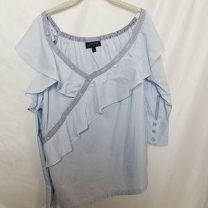 Lane Bryant Ruffled One Cold-Shoulder Striped Top